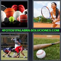 Pelotas de distintos deportes, Mujer con raqueta jugando tenis, Niños jugando Fútbol Américano, Bate de béisbol |