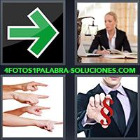Flecha verde, Mujer abogada, Manos con dedos apuntando, Hombre con símbolo rojo, SS