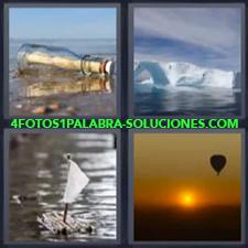 Botella con mensaje en agua, Iceberg, Balsa con vela de papel, Globo aerostático.