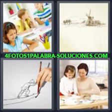 4 fotos 1 Palabra - 6 letras: Cuadro con molino Niña con lapices de colores Niña pintando |