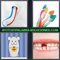 Pasta de dientes o dentífrico, Cepillos de dientes, Dibujo de un ratón con un paquete de regalo