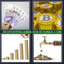 Billetes, Fichas de Bitcoin, Monedas apiladas, Grifo o Canilla echando monedas.