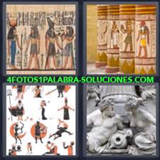 4 fotos 1 Palabra - 6 letras: egipcios Dibujos antiguos Estatuas |