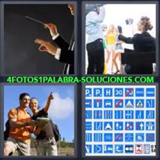 4 Fotos 1 Palabra - Chica indicando camino a chico Dibujo con diferentes tipos de señales de tráfico Director de orquesta Grabando spot publicitario |