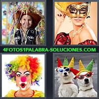 Niño vestido de vaquero, Mujer con antifaz, Payaso, Perros con sombrero y gafas de sol
