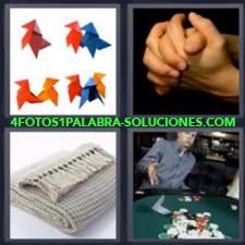 4 fotos 1 Palabra - 6 letras: papiroflexia Figuras de papel Hombre jugando en el casino Manos Manta o cobija |