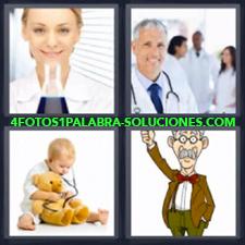 4 fotos 1 Palabra - 6 letras: medicos Bebe jugando con estetoscopio |