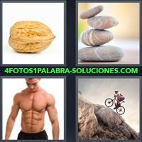 Nuez, Piedras apiladas, Hombre con abdominales, Hombre subiendo una montaña en bicicleta |