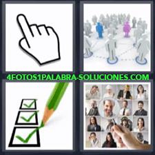 4 fotos 1 Palabra - 6 letras: Dibujo mano Marcas verdes de visto bueno Pantalla con fotografias |