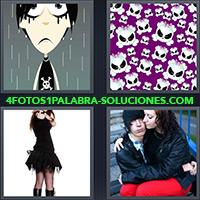 4 Fotos 1 Palabra - Calaveras Chica De Negro Dibujo De Chico Bajo La Lluvia Con Maquillaje Negro Pareja Triste |