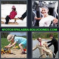 Niño en trineo, Mujer haciendo ejercicio, Niño jugando en la arena, Hombre empujado cae al agua
