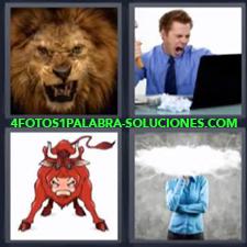 4 fotos 1 Palabra - 6 letras: Dibujo de toro bravo Ejecutivo furioso León |