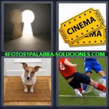 4 Fotos 1 Palabra - Jugando al fútbol Perro sobre la alfombra en la puerta Puerta con forma de cerradura Tickets o billetes de cine |