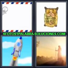 4 Fotos 1 Palabra - Dibujo de cohete o nave espacial Imagen de señor con bastón caminando Niño Jesús en la cuna Sobre de correos |