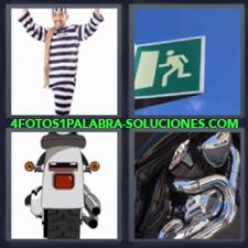 4 fotos 1 Palabra - 6 letras: preso moto Motor de una moto Señal verde de salida |