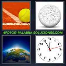 4 fotos 1 Palabra - 6 letras: bola blanca con letras y símbolos Pelota de tenis Planeta Tierra o mundo Reloj |