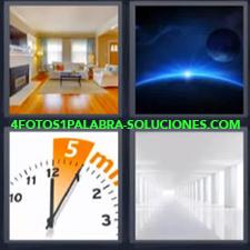 4 Fotos 1 Palabra - reloj casa Casa diáfana toda blanca Planetas y sol |