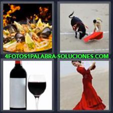 4 fotos 1 Palabra - 6 letras: Botella y copa de vino Mujer bailando flamenco Paella Toro y torero |