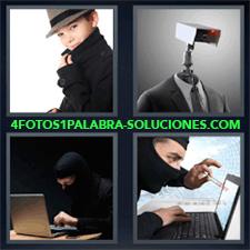 4 Fotos 1 Palabra - Traje Con Camara Hacker Con Pasamontañas En Ordenador Hombre Oculto En Computadora Niño Vestido O Disfrazado De Gánster |