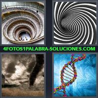 Escalera caracol, Tunel blanco y negro, Tornado, Hélice de ADN |