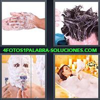 Manos con espuma, Hombre lavándose el cabello, Hombre con rostro cubierto de espuma, Mujer Baño