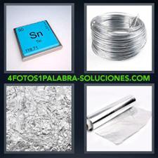 4 fotos 1 Palabra - 6 letras: alambre Papel de aluminio Rollo de papel albal o metálico símbolo azul Sn |