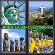 4 Fotos 1 Palabra - estatua libertad Brasil Cristo Redentor Rio de Janeiro Moái Isla de Pascua |