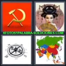 4 Fotos 1 Palabra - 4 Letras: Hoz Y Martillo, Gueisa, Brújula, Mapa De Asia. |