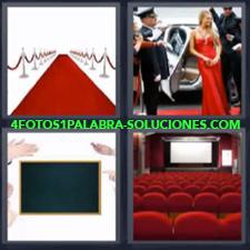 4 Fotos 1 Palabra - pizarra cine Alfombra roja Butacas de cine Famosos saliendo del coche |