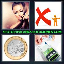 4 Fotos 1 Palabra - Moneda Euro Billetes De Euros Mujer Pelo Largo Simbolo X Roja |