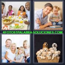 4 Fotos 1 Palabra - comida familiar perros Camada de perros Papa y su hija |