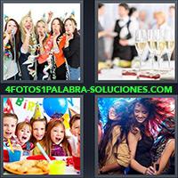 Grupo de chicas con serpentinas y cornetas, Copas de champagne, Niños celebrando un cumpleaños