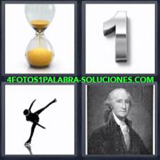 4 fotos 1 Palabra - 6 letras: Dibujo bailando Numero uno 1 Personaje publico antiguo reloj de arena |