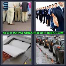 4 Fotos 1 Palabra - 4 Letras: Linea, Gente Haciendo Cola, Grupo Empresa Felicitando, Fotocopiadora, Hilera De Coches |