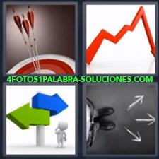 4 fotos 1 Palabra - 6 letras: Diana y flechas Indicacion grafico Indicaciones de direccion |
