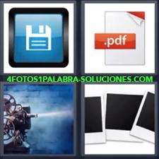 4 Fotos 1 Palabra - Archivo PDF Cámara antigua de cine Dibujo disquete Fotos sin revelar de Polaroid |