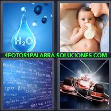 4 Fotos 1 Palabra - Bebe tomando biberón o mamila Coche de carreras o de Formula 1 Gota de H2O Pizarra llena de operaciones |