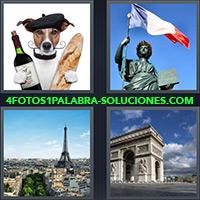 Perro con baguette y botella, Bandera de Francia, París con Torre Eiffel, Arco del triunfo