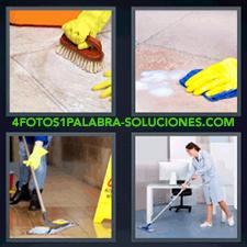 4 fotos 1 Palabra - 6 letras: bayeta azul guante amarillo Hombre limpiando el piso limpiando el suelo con bayeta azul mano con guante amarillo fregando el suelo mujer limpiando oficina pasando mopa |