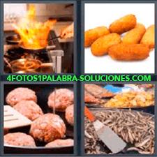 4 Fotos 1 Palabra - Cocinando Carne En Una Sartén Croquetas Espátula Diferentes Tipos De Comidas Sarten Con Fuego En Cocina |