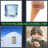 Cubo de Hielo, Cono Helado, Iglú, Mujer con sombrero y abrigo |