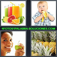 4 Fotos 1 Palabra - Vasos con jugo de frutas |