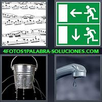 4 Fotos 1 Palabra - Pentagrama con notas musicales |