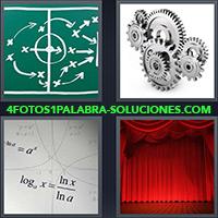 Pizarra verde con anotaciones, Engranajes, Función matemática, Escenario de tratro con telón