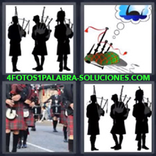 4 fotos 1 Palabra - 6 letras: escoceses Flautas Instrumentos de viento |