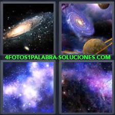 4 Fotos 1 Palabra - Cielo estrellado Espacio Planetas en el espacio |