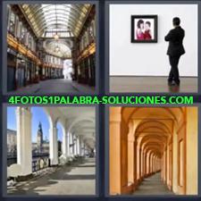 4 Fotos 1 Palabra - Hombre viendo cuadro en museo Pasaje acristalado Pasillo con arcos Portales |