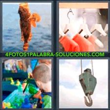4 fotos 1 Palabra - 6 letras: Grua Niño jugando en la feria pez recién pescado Ropa en perchas |