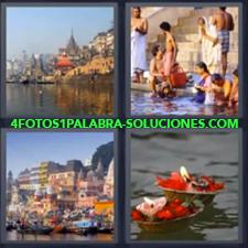 4 fotos 1 Palabra - 6 letras: rio bañandose Personas India bañándose en rio Platos con velas sobre agua Rio en ciudad |