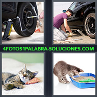 4 Fotos 1 Palabra - Chico cambiando rueda de auto |